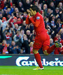 17.11.2012, Anfield, Liverpool, ENG, Premier League, FC Liverpool vs Wigan Athletic, 12. Runde, im Bild Liverpool's Luis Alberto Suarez Diaz celebrates scoring against Wigan Athletic during the English Premier League 12th round match between Liverpool FC and West Wigan Athletic at Anfield, Liverpool, Great Britain on 2012/11/17. EXPA Pictures © 2012, PhotoCredit: EXPA/ Propagandaphoto/ David Rawcliffe..***** ATTENTION - OUT OF ENG, GBR, UK *****