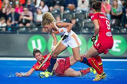 The Netherlands Maria Verschoor is tackled by Stephanie De Groof of Belgium. The Netherlands v Belgium - Unibet EuroHockey Championships, Lee Valley Hockey & Tennis Centre, London, UK on 26 August 2015. Photo: Simon Parker