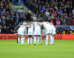 Swansea City Huddle - Photo mandatory by-line: Joe Meredith/JMP - Tel: Mobile: 07966 386802 03/11/2013 - SPORT - FOOTBALL - The Cardiff City Stadium - Cardiff - Cardiff City v Swansea City - Barclays Premier League