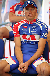 Rider Uros Murn came back after a severe car accident, now a team leader of Adria Mobil,  at introduction of cycling team Adria Mobil 2008, on April 9, 2008, Ljubljana, Slovenia. (Photo by Vid Ponikvar / Sportal Images)/ Sportida)
