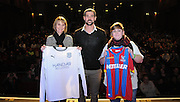 Two fans picked from the audience help Julian Speroni announce that Dundee will be the opponents in his testimonial game during The gloves are off. An Evening With Julian Speroni at  at Fairfields Hall, Croydon, United Kingdom on 20 January 2015. Photo by Michael Hulf.