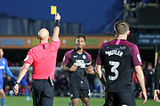 Peterborough United attacker Ivan Toney (17) getting booked during the EFL Sky Bet League 1 match between AFC Wimbledon and Peterborough United at the Cherry Red Records Stadium, Kingston, England on 18 January 2020.