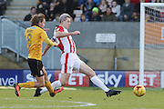 Luke Berry and Aaron Downes during the EFL Sky Bet League 2 match between Cambridge United and Cheltenham Town at the R Costings Abbey Stadium, Cambridge, England on 26 November 2016. Photo by Antony Thompson.