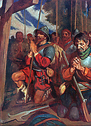The soldiers of Hernando Cortez pray before battle in Mexico.