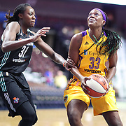 UNCASVILLE, CONNECTICUT- May 2:  Tiffany Jackson-Jones #33 of the Los Angeles Sparks defended by Tina Charles #31 of the New York Liberty during the Los Angeles Sparks Vs New York Liberty, WNBA pre season game at Mohegan Sun Arena on May 2, 2017 in Uncasville, Connecticut. (Photo by Tim Clayton/Corbis via Getty Images)