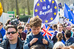 London, March 25th 2017. Protesters in the Unite for Europe march against Brexit take to the streets of London just days after the Westminster terror attack in a show of defiance against extremism and Prime Minister Theresa May's 'hard Brexit'.