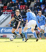 Dundee's Greg Stewart takes on St Johnstone's Steven Anderson - St Johnstone v Dundee, SPFL Premiership at McDiarmid Park<br /> <br />  - &copy; David Young - www.davidyoungphoto.co.uk - email: davidyoungphoto@gmail.com