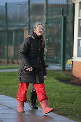 © Under licence to London News Pictures. 27/01/2016. Karen Routh arrives at Skerne Park Acadamy in Darlington in her pyjamas to drop off her daughter. The head teacher sent out a letter to asking parents not to wear pyjamas to drop their children off at school. Photo Credit: Stuart Boulton/LNP