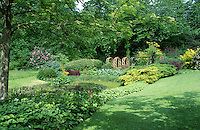 large wildlife pond in garden with lots of lush planting