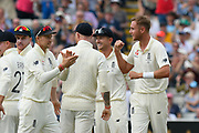Wicket - Stuart Broad of England celebrates taking the wicket of David Warner of Australia after a review during the International Test Match 2019 match between England and Australia at Edgbaston, Birmingham, United Kingdom on 3 August 2019.