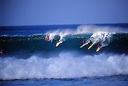 Surfing Waimea Bay, North Shore, Oahu, Hawaii