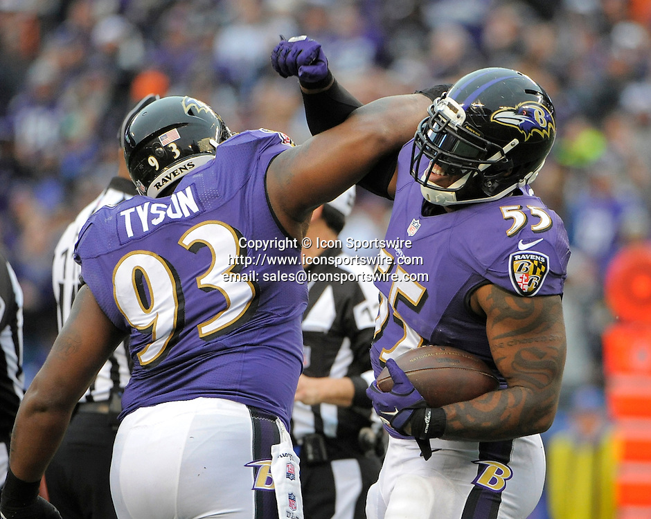Dec. 28, 2014 - Baltimore, MD, USA - Baltimore Ravens' Terrell Suggs (55) celebrates with teammate DeAngelo Tyson (93) after Tyson's third quarter sack against the Cleveland Browns on Sunday, Dec. 28, 2014 at M&T Bank Stadium in Baltimore, Md. The Ravens won 20-10