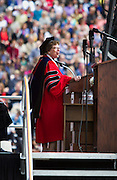 Chancellor Rebecca M. Blank speaks during the University of Wisconsin-Madison commencement ceremony at Camp Randall Stadium, Saturday, May 17, 2014.