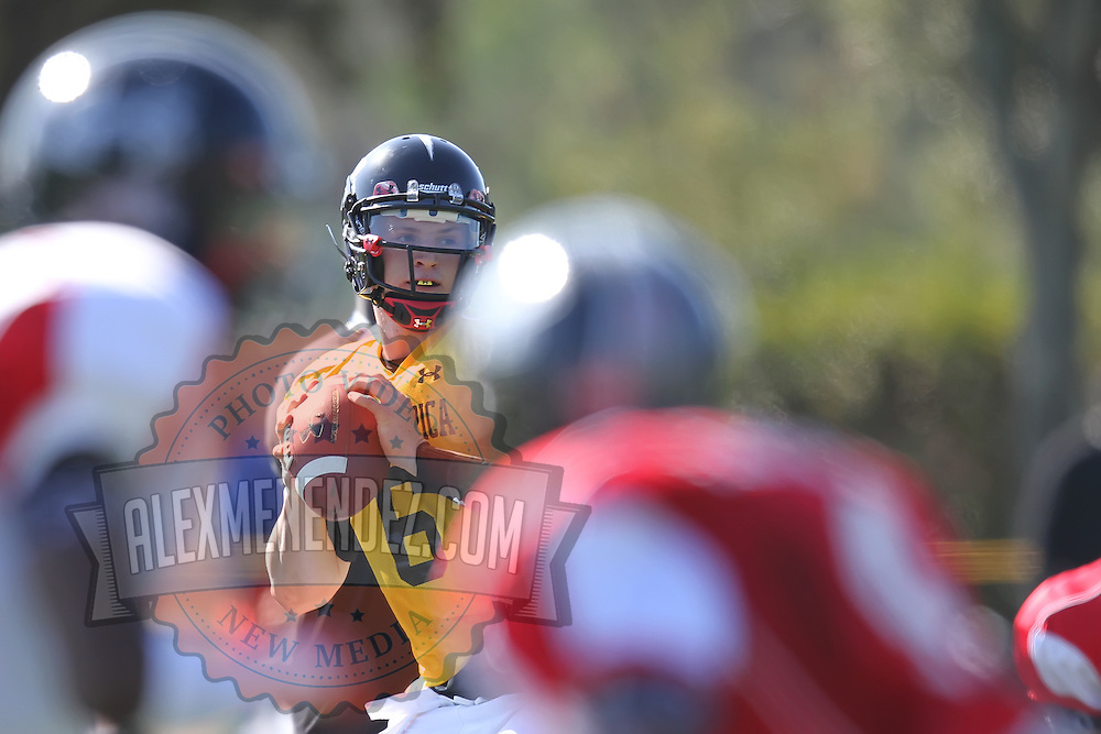 Quarterback Jeff Driskell looks for a receiver during the practice session at the Walt Disney Wide World of Sports Complex in preparation for the Under Armour All-America high school football game on December 3, 2011 in Lake Buena Vista, Florida. (AP Photo/Alex Menendez)