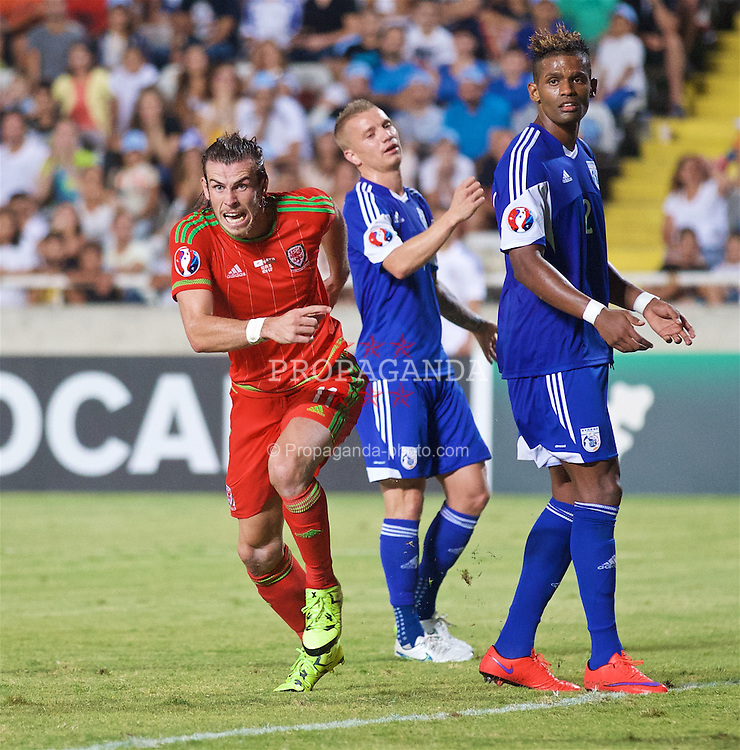 NICOSIA, CYPRUS - Thursday, September 3, 2015: Wales' match-winning goal scorer Gareth Bale celebrates the 1-0 victory over Cyprus during the UEFA Euro 2016 qualifying match at the GPS Stadium. (Pic by David Rawcliffe/Propaganda)