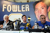Photo: Rich Eaton.<br /> <br /> Cardiff City Press Conference. Coca Cola Championship. 24/07/2007. Robbie Fowler (c) pictured at Ninian Park, where he was announed as a new signing by Cardiff City by Peter Ridsdale (l) and Dave Jones (r).