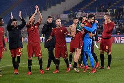 December 5, 2017 - Rome, Italy - Players of Roma celebrate the victory after the UEFA Champions League match between Roma and Qarabag at Stadio Olimpico, Rome, Italy on 5 December 2017  (Credit Image: © Giuseppe Maffia/NurPhoto via ZUMA Press)