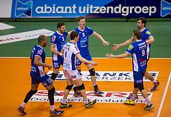 17-04-2016 NED: Play off finale Abiant Lycurgus - Seesing Personeel Orion, Groningen<br /> Abiant Lycurgus is door het oog van de naald gekropen tijdens het eerste finaleduel om het landskampioenschap. De Groningers keken in een volgepakt MartiniPlaza tegen een 0-2 achterstand aan tegen Seesing Personeel Orion, maar mede dankzij invaller Gino Naarden kwam Lycurgus langszij en pakte het de wedstrijd met 3-2 / Gino Naarden #7 of Lycurgus, Steven Irvin #3 of Lycurgus, Auke van de Kamp #5 of Lycurgus, Dennis van der Veen #6 of Lycurgus, Jay Blankenau #9 of Lycurgus, Just Donkers #8 of Lycurgus