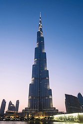 Evening view of Burj Khalifa tower  in Dubai United Arab Emirates