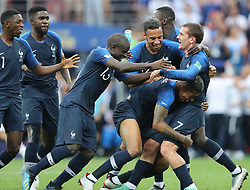 MOSCOW, July 15, 2018  Players of France celebrate victory after the 2018 FIFA World Cup final match between France and Croatia in Moscow, Russia, July 15, 2018. France defeated Croatia 4-2 and claimed the title. (Credit Image: © Yang Lei/Xinhua via ZUMA Wire)