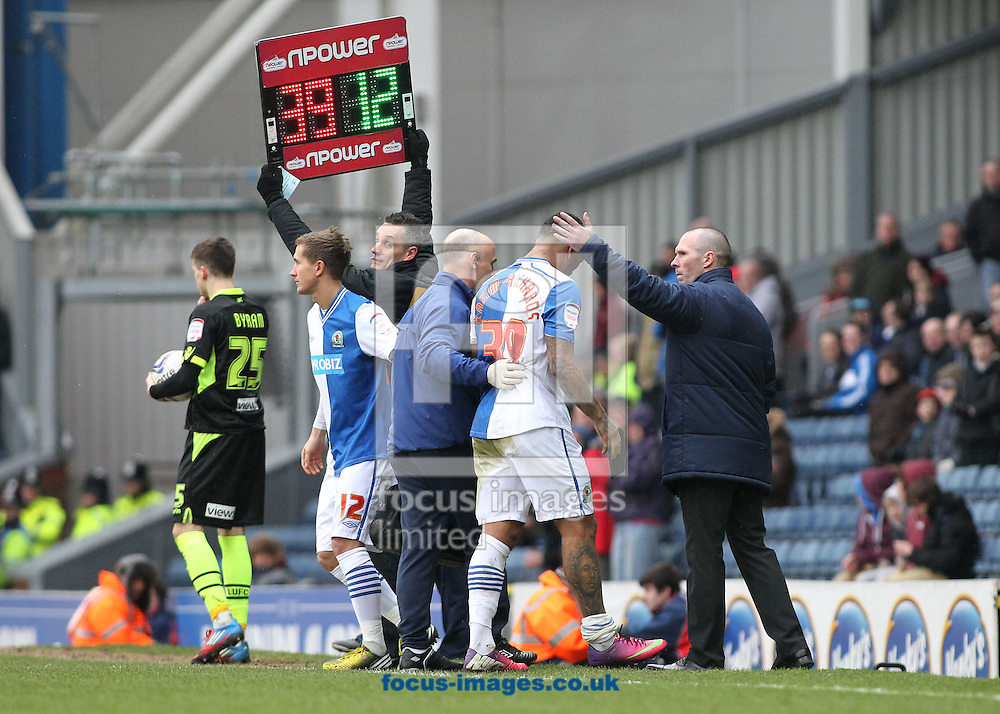 Picture by Michael Sedgwick/Focus Images Ltd +44 7900 363072.23/02/2013.Colin Kazim-Richards of Blackburn Rovers is replaced by Morten Gamst Pedersen after injuring himself during the npower Championship match against Leeds United at Ewood Park, Blackburn.