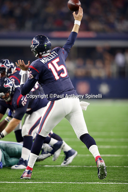 Houston Texans quarterback Ryan Mallett (15) throws a fourth quarter pass during the 2015 NFL preseason football game against the Dallas Cowboys on Thursday, Sept. 3, 2015 in Arlington, Texas. The Cowboys won the game 21-14. (©Paul Anthony Spinelli)