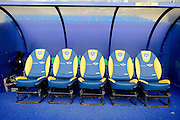 Oxford Uniteds dugout during the The FA Cup Fourth Round match between Oxford United and Blackburn Rovers at the Kassam Stadium, Oxford, England on 30 January 2016. Photo by Dennis Goodwin.