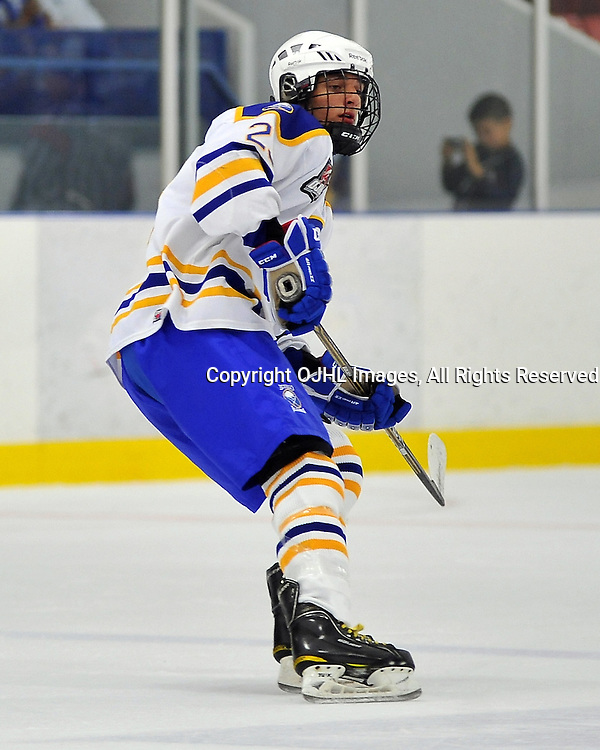 NORTH YORK, ON - Sep 8 : Ontario Junior Hockey League game between Buffalo Jr. Sabres and North York Rangers. Tim Kielich #23 of the Buffalo Junior Sabres Hockey Club during first period game action.<br /> (Photo by Shawn Muir / OJHL Images)