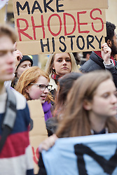 © Licensed to London News Pictures. 09/03/2016 The demo at Rhodes House. The demo passes through Radcliffe Square in Oxford. Speeches and songs. Rhodes must fall demonstration and march through Oxford. Protest outside Oriel College followed by a march through the streets of Oxford. Photo credit : MARK HEMSWORTH/LNP