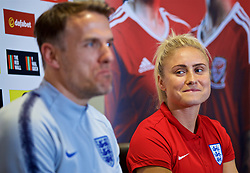 NEWPORT, WALES - Thursday, August 30, 2018: England's Steph Houghton during a press conference at Rodney Parade ahead of the final FIFA Women's World Cup 2019 Qualifying Round Group 1 match between Wales and England. (Pic by David Rawcliffe/Propaganda)