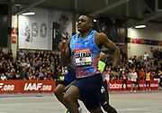 Feb 10, 2018; Boston, Massachussetts, USA; Christian Coleman (USA) wins the 60m in 6.46 during the New Balance Indoor Grand Prix at Reggie Lewis Center.