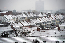 © Licensed to London News Pictures. 01/02/2019. London, UK. Snow covered rooftops in Alperton, North West London from overnight  as snow continues to fall in central London  this morning. Photo credit: Ray Tang/LNP