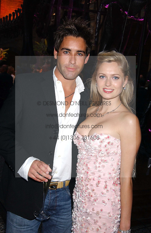 TV presenter GILES VICKERS-JONES and ANOUSKA DE GEORGIOU at the opening party for Diamonds - a new exhibition at The Natural History Museum, London in association with De Beers held on 6th July 2005.<br />