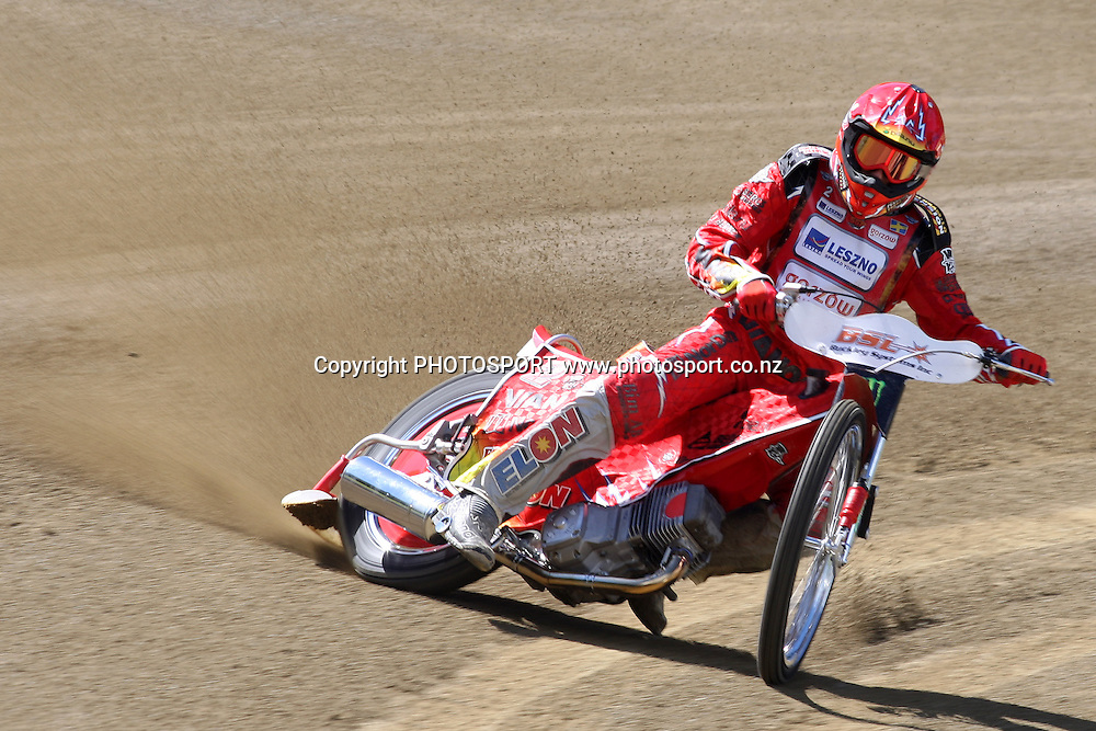 Andreas Jonsson (Sweden) in action during practice session of the 2012 FIM New Zealand Speedway Grand Prix, Western Springs, Auckland, New Zealand. Thursday 29th March 2012. Photo: Wayne Drought / photosport.co.nz
