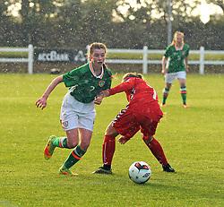 Nicole Smyth Republic of Ireland U16 gets past Lithuania&rsquo;s Silvija Safranovic during the Uefa U16&rsquo;s development tournament at Solar 21 Park, Mayo.<br /> Pic Conor McKeown
