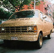 Van decorated in gold glitter, USA