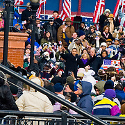 President Barack Obama and Vice President Joe Biden speaking at the Wilmington Train Station on January 17, 2009 before his inaugural in Washington DC