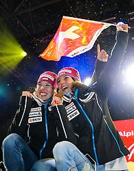 10.02.2017, St. Moritz, SUI, FIS Weltmeisterschaften Ski Alpin, St. Moritz 2017, alpine Kombination, Damen, Siegerehrung, im Bild v.l. Michelle Gisin (SUI, Silbermedaille Alpine Kombination der Damen), Wendy Holdener (SUI, Weltmeister und Goldmedaille Alpine Kombination der Damen) // f.l. ladie's Alpin Combined Silver medalist Michelle Gisin of Switzerland ladie's Alpin Combined Goldmedalist and World Champion Wendy Holdener of Switzerland during the winnerceremony for the ladie's Alpine combination of the FIS Ski World Championships 2017. St. Moritz, Switzerland on 2017/02/10. EXPA Pictures © 2017, PhotoCredit: EXPA/ SM<br /> <br /> *****ATTENTION - OUT of GER*****