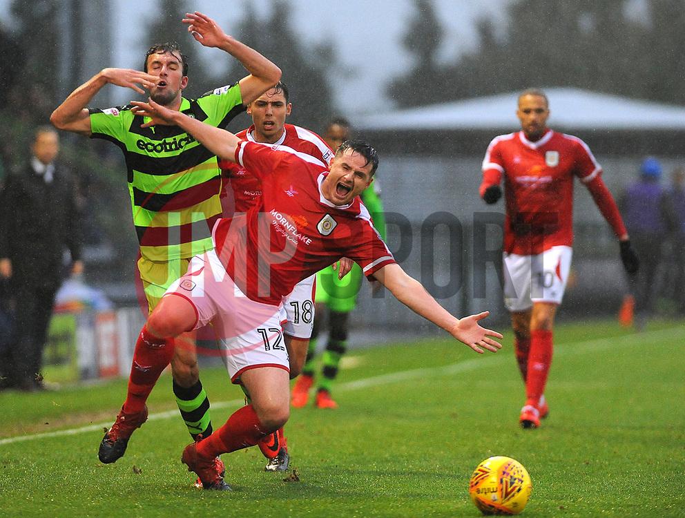 Christian Doidge of Forest Green Rovers fouls Eddie Nolan of Crewe Alexandra -Mandatory by-line: Nizaam Jones/JMP - 18/11/2017 - FOOTBALL - New Lawn Stadium - Nailsworth, England - Forest Green Rovers v Crewe Alexandre-Sky Bet League Two