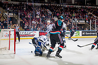 KELOWNA, CANADA - OCTOBER 5:  Ryan Bowen #17 of the Kelowna Rockets celebrates a goal on Griffen Outhouse #30 of the Victoria Royals on October 5, 2018 at Prospera Place in Kelowna, British Columbia, Canada.  (Photo by Marissa Baecker/Shoot the Breeze)  *** Local Caption ***