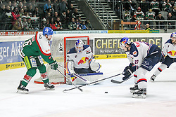 20.02.2015, Curt-Frenzel-Stadion, Augsburg, GER, DEL, Augsburger Panther vs EHC Red Bull München, 49. Runde, im Bild l-r: im Zweikampf, Aktion, mit Greg Moore #26 (Augsburger Panther), Niklas Treutle #31 (EHC Red Bull Muenchen) und Matthew Smaby #27 (EHC Red Bull Muenchen) // during Germans DEL Icehockey League 49th round match between Adler Mannheim and Grizzly Adams Wolfsburg at the Curt-Frenzel-Stadion in Augsburg, Germany on 2015/02/20. EXPA Pictures © 2015, PhotoCredit: EXPA/ Eibner-Pressefoto/ Kolbert<br /> <br /> *****ATTENTION - OUT of GER*****