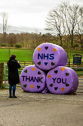 Large messages of support for the NHS are on display at the entrance to the Penicuik Estate which has had to close their car park due to the lockdown.<br />