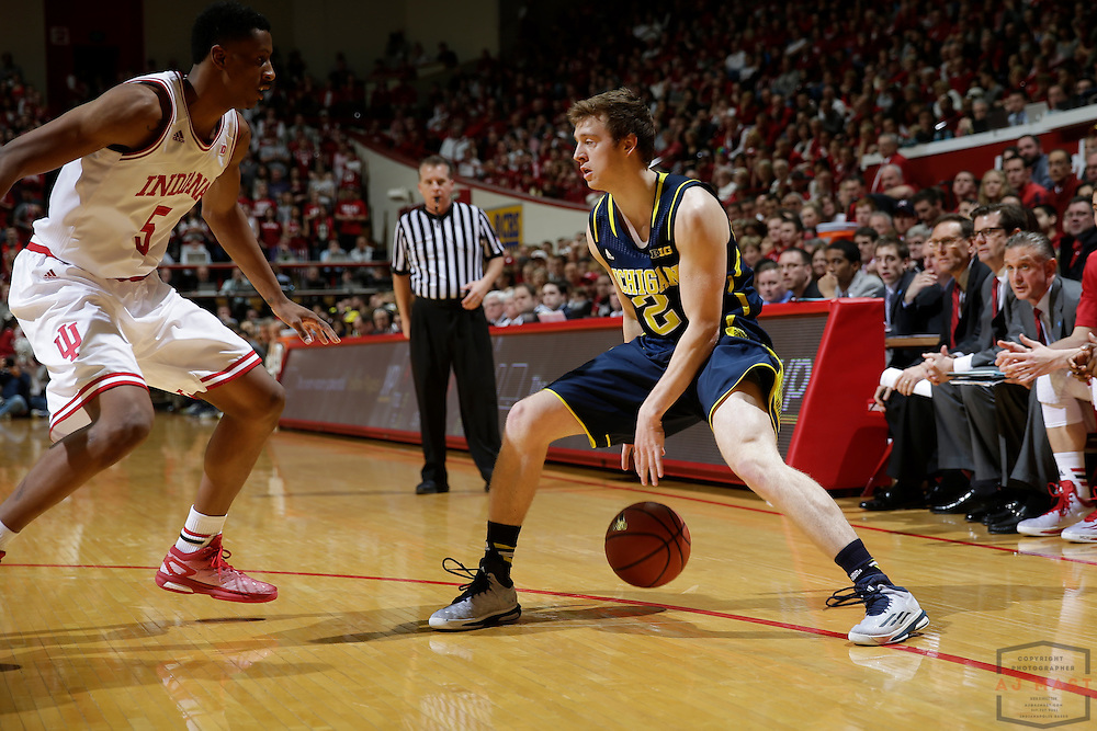 Michigan guard Spike Albrecht (2) as Michigan played Indiana in an NCCA college basketball game in Bloomington, Ind., Sunday, Feb. 8, 2015. (AJ Mast / Photo))