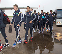 CARDIFF, WALES - Saturday, November 15, 2014: Wales' Chris Gunter and Hal Robson-Kanu arrive at Cardiff Airport for their flight to Brussels ahead of the UEFA Euro 2016 Qualifying Group B game against Belgium. (Pic by David Rawcliffe/Propaganda)