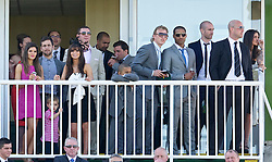 LIVERPOOL, ENGLAND, Friday, April 8, 2011: Liverpool Football Club players Joe Cole, Dirk Kuyt, Glen Johnson, Raul Meireles, goalkeeper Jose Reina and their wives and girlfriends during Ladies' Day on Day Two of the Aintree Grand National Festival at Aintree Racecourse. (Photo by David Rawcliffe/Propaganda)