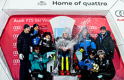 "Winner and Snow Queen 2018 Mikaela Shiffrin (USA) with her US team opening a champagne at Trophy ceremony after 2nd Run of FIS Alpine Ski World Cup 2017/18 Ladies' Slalom race named ""Snow Queen Trophy 2018"", on January 3, 2018 in Course Crveni Spust at Sljeme hill, Zagreb, Croatia. Photo by Vid Ponikvar / Sportida"