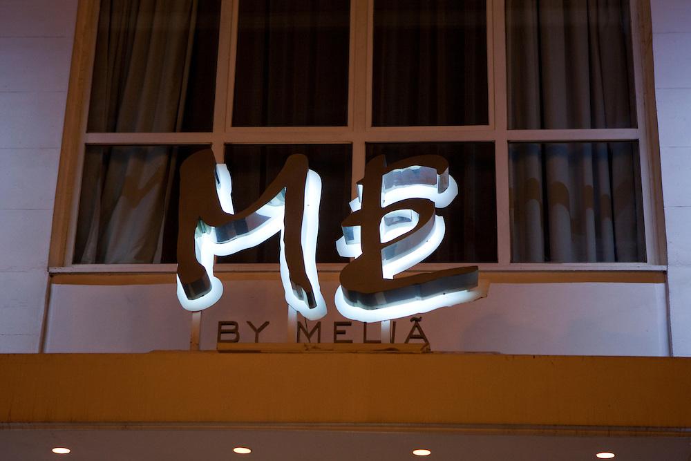 Façade of Hotel Me, by Melía, in Madrid, Spain.
