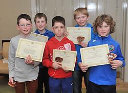 Westport Athletics Awards Boys U11 &amp; U12, Connacht and County medalists, Conall Dawson, Colin Hastings, Sean Heaney, Joe Sweet and Niall McLoughlin.<br /> Pic Conor McKeown