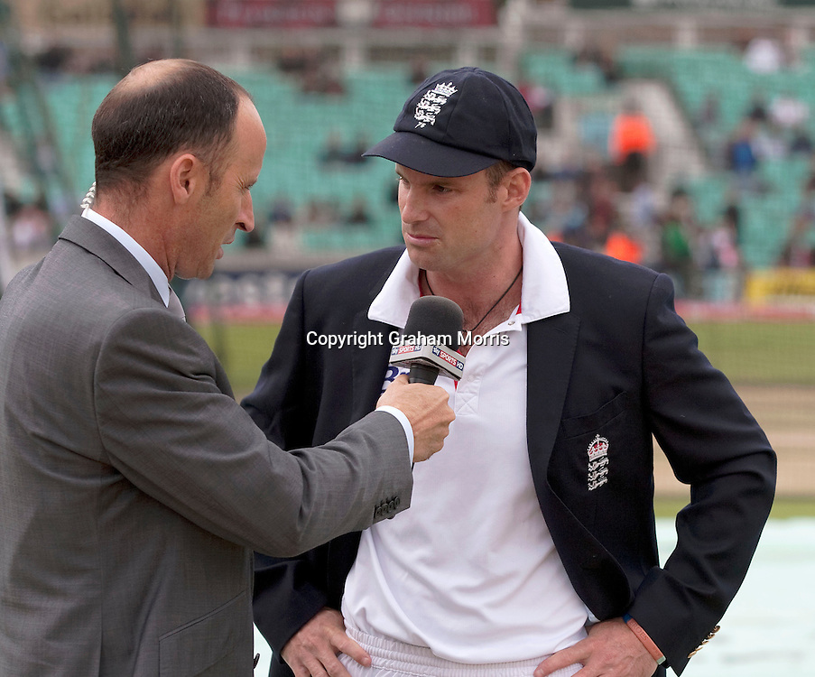 Sky TV's Nasser Hussain interviews captain Andrew Strauss before the fourth and final npower Test Match between England and India at the Oval, London.  Photo: Graham Morris (Tel: +44(0)20 8969 4192 Email: sales@cricketpix.com) 18/08/11