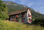 German architecture in Italian South Tyrolean agricultural region, south-west of Bolzano, northern Italy.
